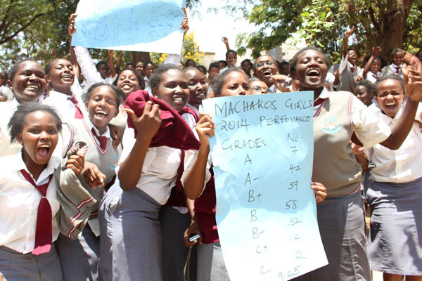 Students celebrating their good performance in 2015/2016 results