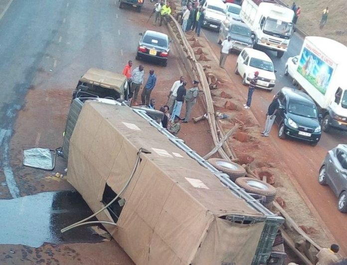 Military Lorry Plus 2 Other Lorries Involved In A Fatal Accident Along Thika Highway