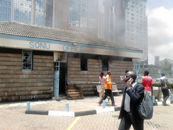 SONU office that was set ablaze by rioting UON students